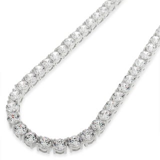 "Sterling Silver 5mm Brilliant-Cut Clear Round CZ Solid 925 White Tennis Necklace 20"" - 30"" (5 options available)"
