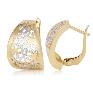 Fremada 14k Two-tone Gold Filigree Omega Back Earrings