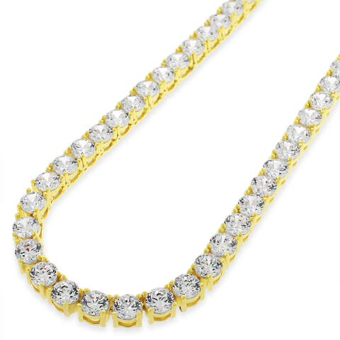 "Sterling Silver 5mm Tennis Chain Crystal Clear CZ Stone Iced .925 Yellow Gold Necklace 20"" - 30"", Men & Women, In Style Designz"