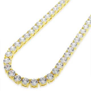 .925 Sterling Silver 5mm Fancy Cubic Zirconia Round Cut Gold Plated Tennis Necklace Chain