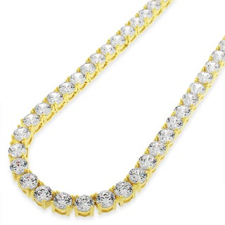 "Sterling Silver 5mm Brilliant-Cut Clear Round CZ Solid 925 Yellow Gold Plated Tennis Necklace 20"" - 30"""