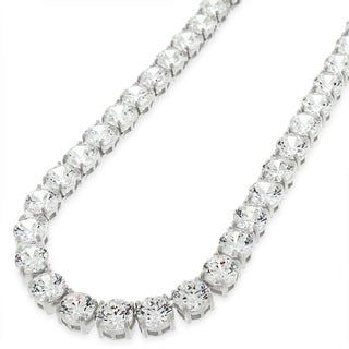 .925 Sterling Silver 6mm Fancy Cubic Zirconia Round Cut Rhodium Tennis Necklace Chain