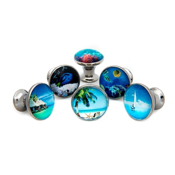 Shop Tropical Ocean Beach Theme Glass Cabinet Knobs - Set ...