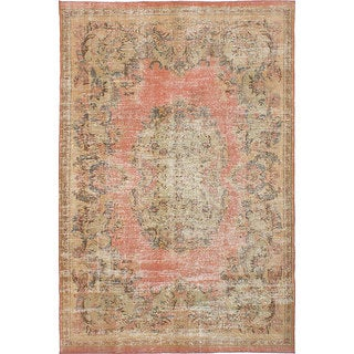 "Hand-knotted Vintage Turkish Overdyed Copper Wool Rug 6'8"" x 10'1"""