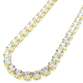 .925 Sterling Silver 6mm Fancy Cubic Zirconia Round Cut Gold Plated Tennis Necklace Chain