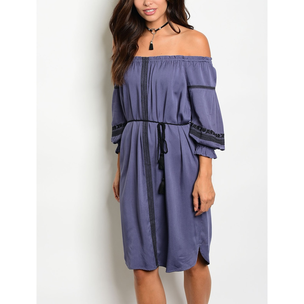 JED Womens Cotton Off Shoulder Knee-Length Dress with Waist Tie
