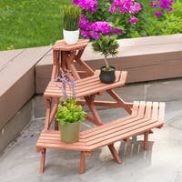 Brown Wood 3-tier Quarter Round Plant Stand