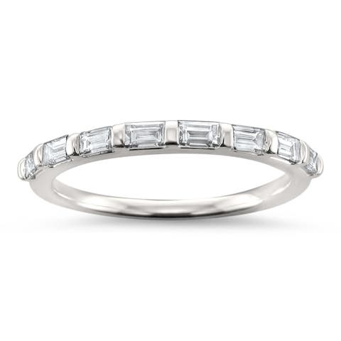 Montebello Jewelry 14k White Gold 1/2ct TDW Baguette-cut Diamond Wedding Band (H-I, VS1-VS2)