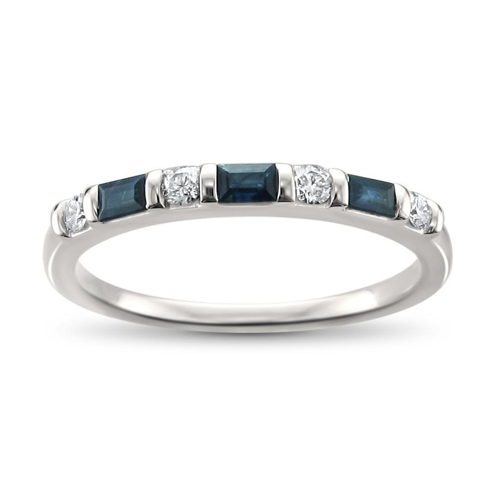 It is an image of Montebello 40KT White Gold 40/40ct TDW Diamond and Blue Sapphire Wedding Band