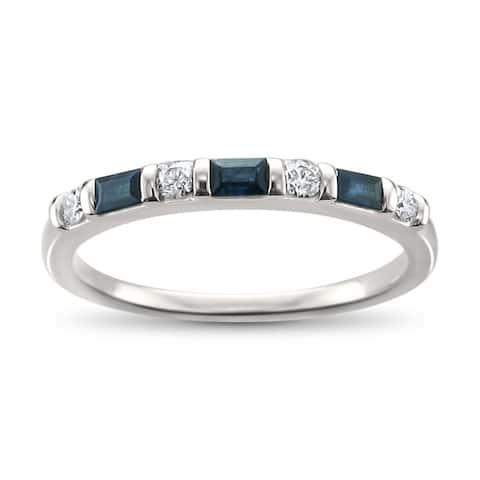 Montebello 14KT White Gold 1/3ct TDW Diamond and Blue Sapphire Wedding Band