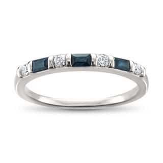 Montebello Jewelry 14k White Gold 1/3ct TDW Baguette-cut Blue Sapphire Wedding Band (H-I, SI1-SI2)|https://ak1.ostkcdn.com/images/products/16079637/P22464679.jpg?impolicy=medium