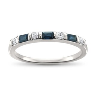 Montebello Jewelry 14k White Gold 1/3ct TDW Baguette-cut Blue Sapphire Wedding Band (H-I, SI1-SI2)