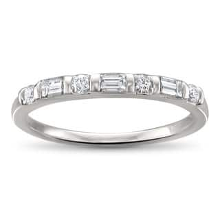 Montebello Jewelry 14k White Gold 1/3t TDW Baguette-cut Diamond Wedding Band (H-I, SI1-SI2)|https://ak1.ostkcdn.com/images/products/16079638/P22464680.jpg?impolicy=medium