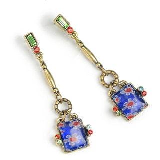 Sweet Romance Millefiori Glass Geometric Square Drop Earrings