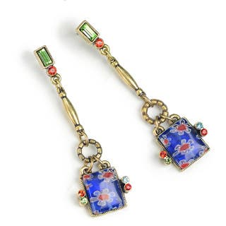 Sweet Romance Millefiori Glass Geometric Square Drop Earrings|https://ak1.ostkcdn.com/images/products/16079639/P22464683.jpg?impolicy=medium