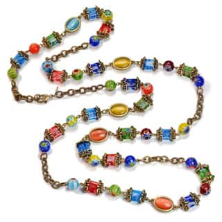Sweet Romance Millefiori Glass Layering Long Chain Necklace|https://ak1.ostkcdn.com/images/products/16079640/P22464685.jpg?impolicy=medium