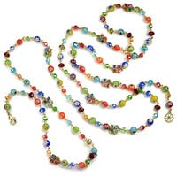 Sweet Romance Long Millefiori Glass Candy Beaded Layering Necklace