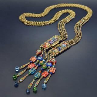Sweet Romance Millefiori Glass Candy Fringe Tassel Necklace