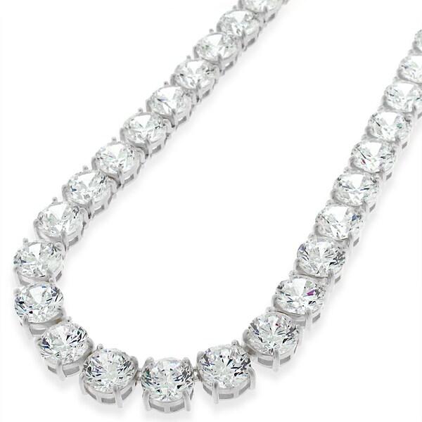 .925 Sterling Silver 7mm Fancy Cubic Zirconia Round Cut Rhodium Tennis Necklace Chain