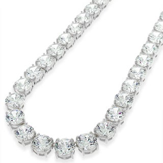 .925 Sterling Silver 7mm Fancy Cubic Zirconia Round Cut Rhodium Tennis Necklace Chain