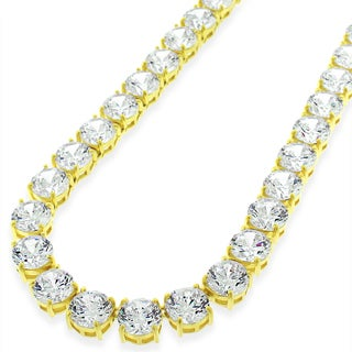 .925 Sterling Silver 7mm Fancy Cubic Zirconia Round Cut Gold Plated Tennis Necklace Chain