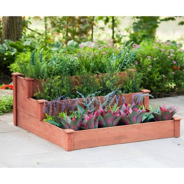 Shop 3-Tier Tan Cedar Wood Raised Garden Bed