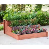 3-Tier Tan Cedar Wood Raised Garden Bed