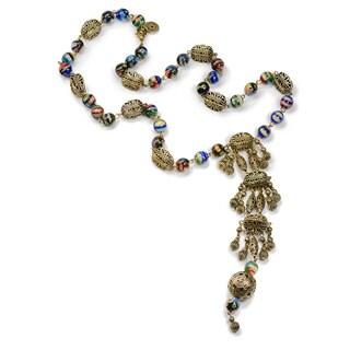 Sweet Romance Exotic Millefiori Glass Filigree Boho Vintage Necklace