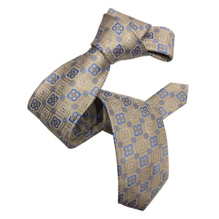Dmitry Men's Italian Beige Patterned Silk Tie