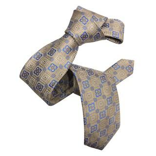 Dmitry Men's Italian Beige Patterned Silk Tie