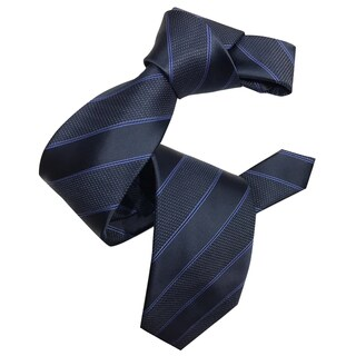 Dmitry Men's Italian Navy Striped Silk Tie