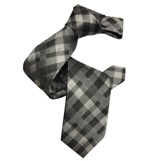 Dmitry Men's Italian Grey Patterned Silk Tie