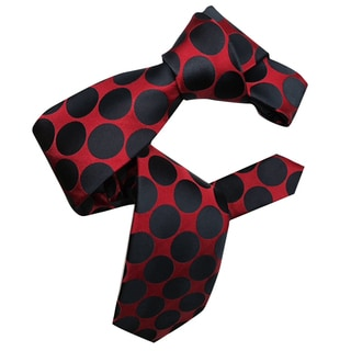 Dmitry Men's Italian Red with Navy Polka Dots Patterned Silk Tie