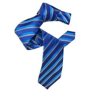 Dmitry Men's Blue Striped Italian Silk Tie