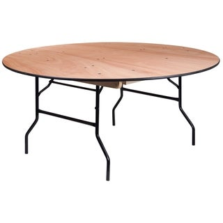 """66-feet Round Wood Folding Banquet Table with Clear Coated Finished Top - 66""""W x 66""""D x 30""""H"""