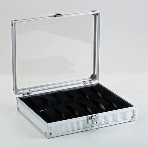 Aluminium Square Portable Jewelry and Watch Box (12 Grid Slot Box)
