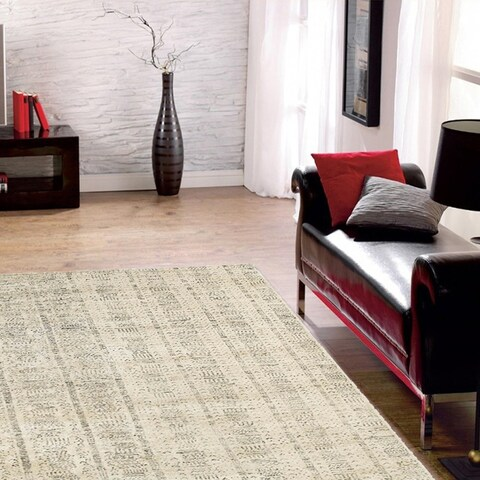LR Home Hand Knotted Sobek Neolithic White Wool/ Viscose Rug - 10' x 14'