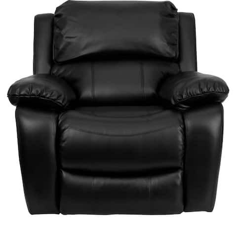 Melnik Contemporary Black Leather Upholstered Rocking Recliner