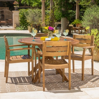 Stamford Outdoor 5 Piece Round Acacia Wood Dining Set By Christopher Knight  Home