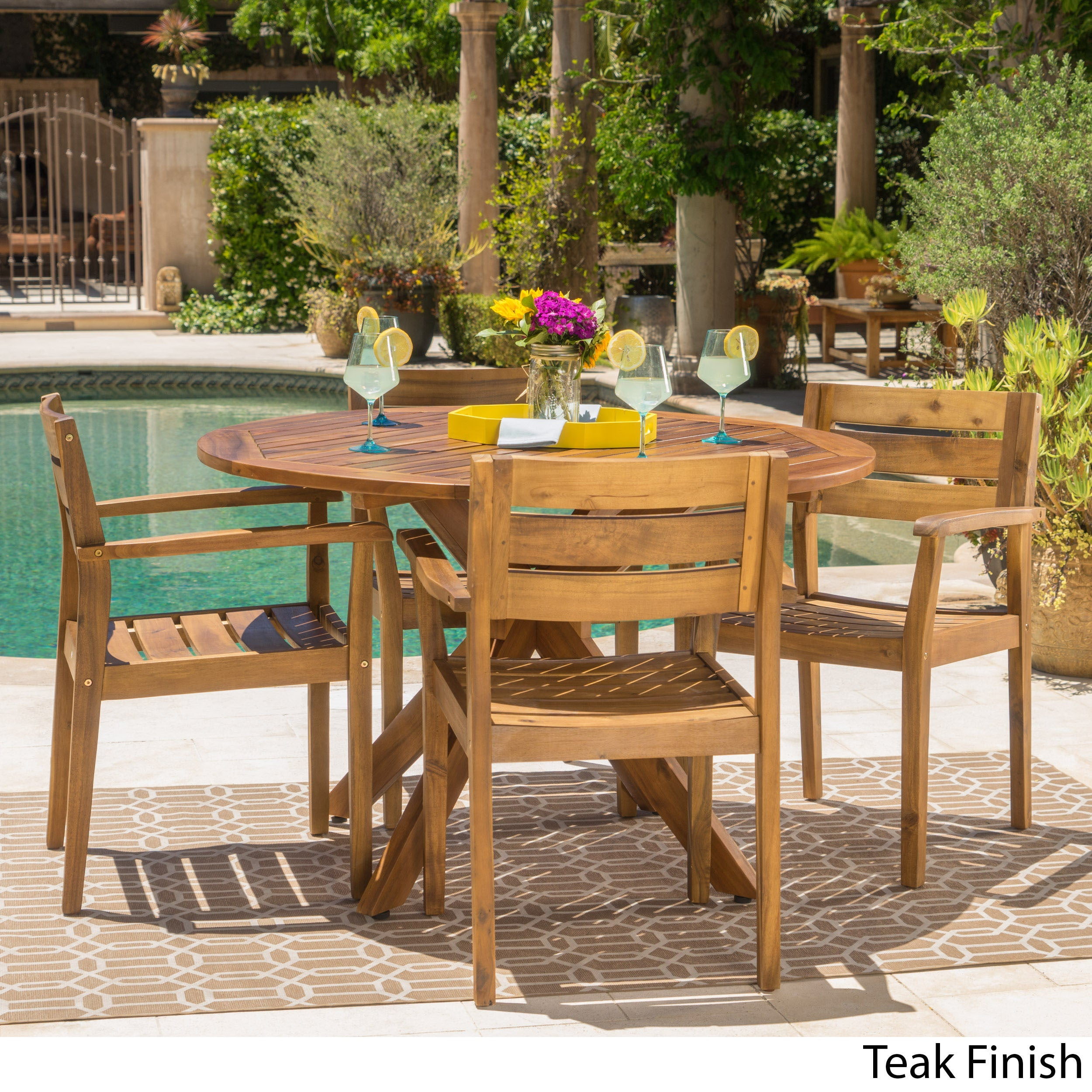 5 Piece Round Acacia Wood Dining Set