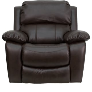 Melnik Contemporary Brown Leather Upholstered Rocking Recliner