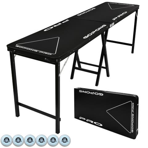 GoPong PRO Black 8-foot 36-inch Tall Premium Heavy-duty Beer Pong Table