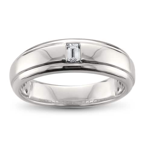 Men's 14k White Gold 1/5ct TDW Baguette-cut Diamond Wedding Band (H-I, VS1-VS2)