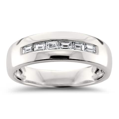 Men's 14k White Gold 1/2ct Baguette-cut Diamond Wedding Band (H-I, VS2)