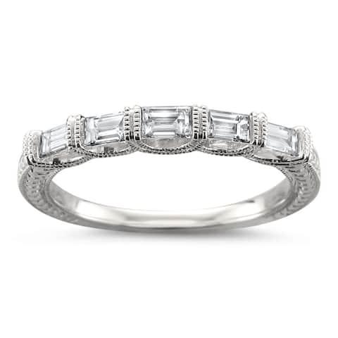 Montebello Jewelry 14k White Gold 1/2ct TDW Baguette-cut Diamond Wedding Band (H-I, VS1-VS2)
