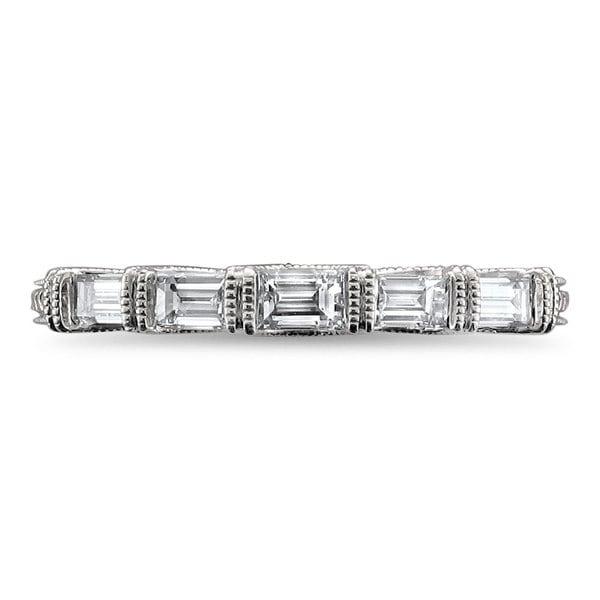14k White Gold 0.50 Ct Round Baguette Cut Diamond Wedding Band Anniversary Ring