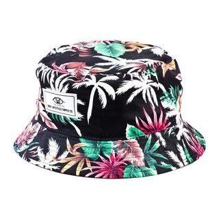 Deep Lifestyles Black Unisex Women Men Tropical Floral Pattern Reversible Bucket Hat