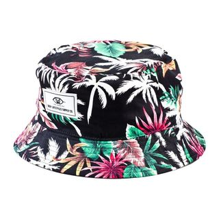 Deep Lifestyles Black Unisex Women Men Tropical Floral Pattern Reversible Bucket Hat