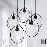 Luna Antique Black 5-Light Clear Glass Globe Iron Loop Pendant Chandelier