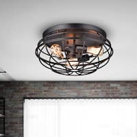 Cecilia Antique Black Industrial Iron Cage Flush Mount Chandelier